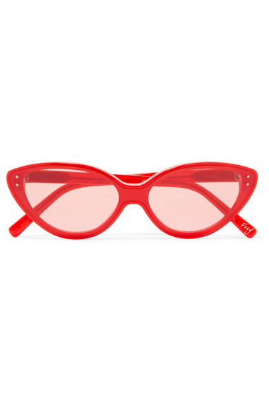 Frey Cat-Eye Acetate Sunglasses in Red