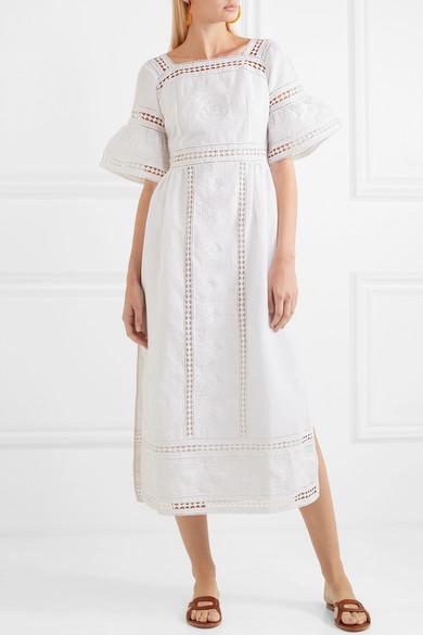 Sarafina Lace-paneled Embroidered Cotton-voile Midi Dress - White Talitha KFJYW7ip