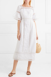 Sarafina lace-paneled embroidered cotton-voile midi dress
