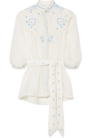 Beaded embroidered cotton and silk-blend top