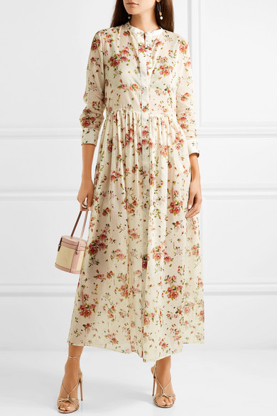 Disco Floral Print Cotton Voile Midi Dress by Brock Collection