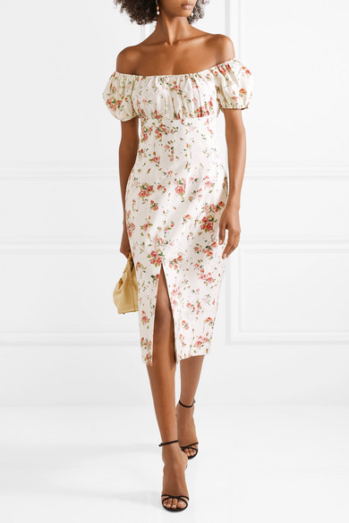 Dayna Floral Print Silk Satin Midi Dress by Brock Collection