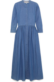 Disco pleated denim midi dress