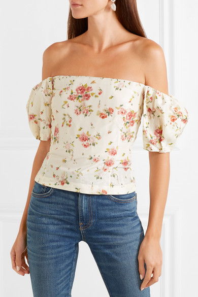 Boie Off The Shoulder Floral Print Silk Blouse by Brock Collection
