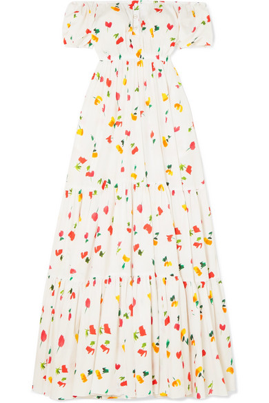 Bardot Off The Shoulder Printed Cotton Blend Maxi Dress by Caroline Constas