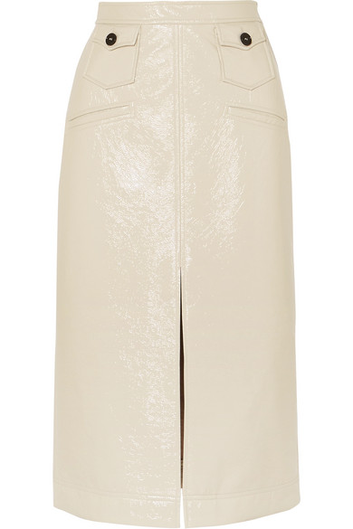 Faux Patent-Leather Pencil Skirt in Cream