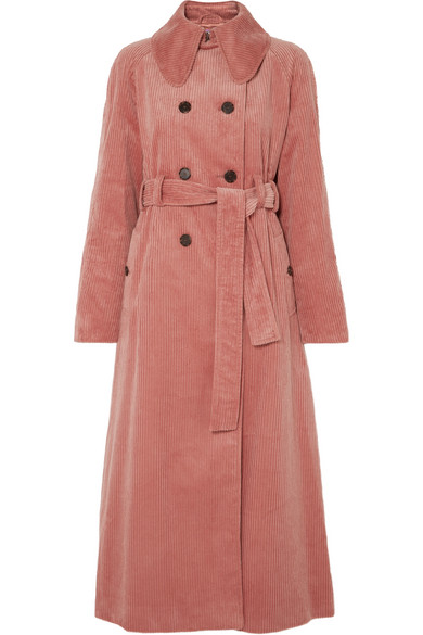 ALEXACHUNG - Cotton-blend Corduroy Trench Coat - Pink