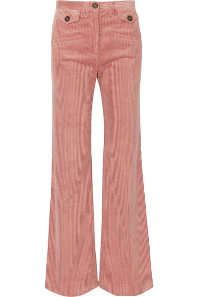 ALEXACHUNG - Cotton-blend Corduroy Bootcut Pants - Pink