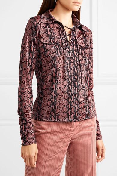 Snake-print Satin-jersey Top - Pink AlexaChung Perfect Sale Online Clearance Choice e5C68m