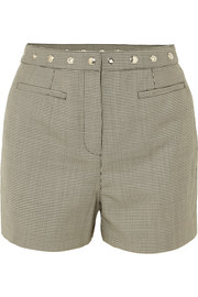 Embellished houndstooth wool-blend shorts