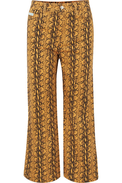 Cropped Snake Print High Rise Wide Leg Jeans by Alexachung