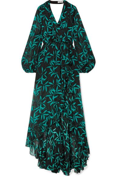 CAROLINE CONSTAS OLIVIA WRAP-EFFECT PRINTED SILK-CHIFFON MAXI DRESS