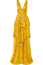 Paros ruffled tiered printed silk-chiffon gown