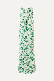 Kaia knotted printed voile maxi dress