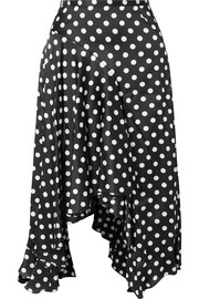 Flounce polka-dot stretch-silk satin midi skirt