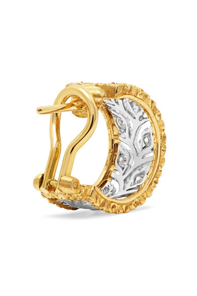 Ramage 18-karat White And Yellow Gold Diamond Hoop Earrings - White gold Buccellati KQMLco7