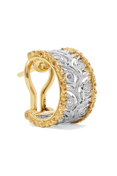 Buccellati Ramage 18-karat White Gold Diamond Earrings NGogQLzSx