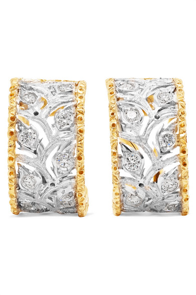 Buccellati Ramage 18-karat White Gold Diamond Earrings 6G0JmW4