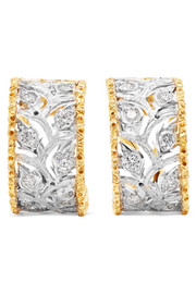 Ramage 18-karat white and yellow gold diamond hoop earrings