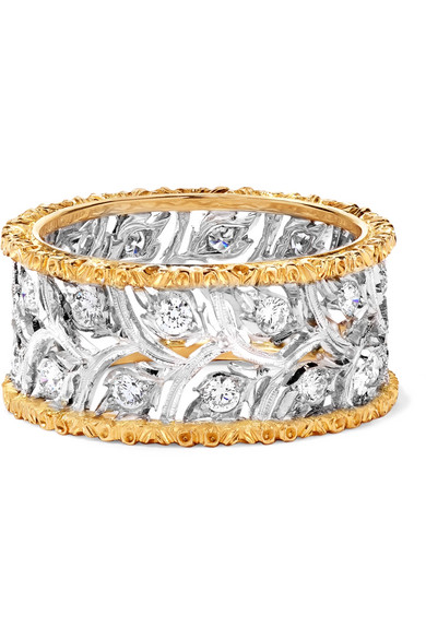 BUCCELLATI RAMAGE ETERNELLE 18-KARAT WHITE AND YELLOW GOLD DIAMOND RING