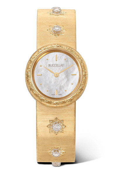 BUCCELLATI MACRI 24MM 18-KARAT GOLD AND DIAMOND WATCH