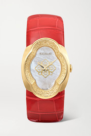 Opera 28mm 18-karat gold, alligator and mother-of-pearl watch