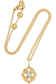 Opera 18-karat yellow and white gold diamond necklace