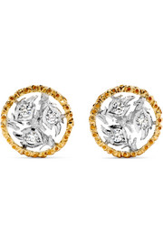 Ramage 18-karat yellow and white gold diamond earrings