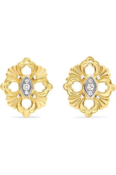 BUCCELLATI OPERA 18-KARAT YELLOW AND WHITE GOLD DIAMOND EARRINGS