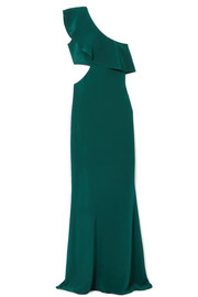 One-shoulder cutout silk-crepe gown