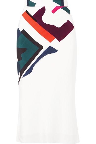 Cushnie - Expressionist Lia Printed Silk-satin Midi Skirt - White