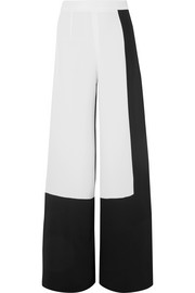 Two-tone silk-crepe wide-leg pants