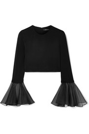 Cropped silk-organza trimmed jersey top