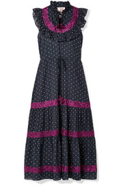 Lila ruffle-trimmed embroidered polka-dot cotton-voile dress