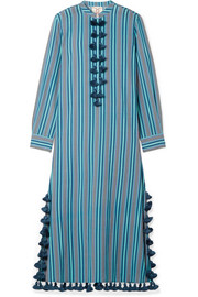 Figue Paolina tasseled striped cotton-blend voile midi dress