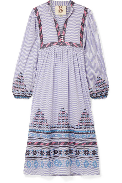 FIGUE NORA EMBROIDERED PRINTED COTTON-VOILE MIDI DRESS