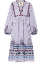 Nora embroidered printed cotton-voile midi dress