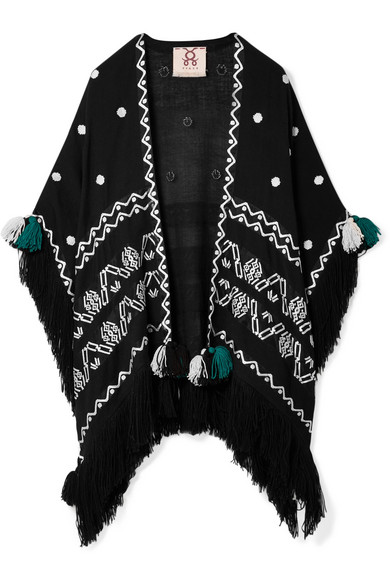 FIGUE CORAZON FRINGED EMBROIDERED WOOL WRAP