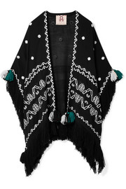 Corazon fringed embroidered wool wrap