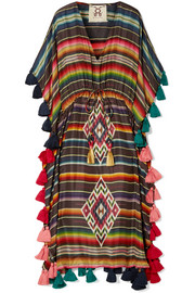 Amrita tasseled striped silk-habotai kaftan