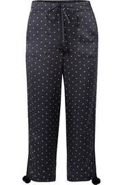 Fiore polka-dot silk-satin wide-leg pants