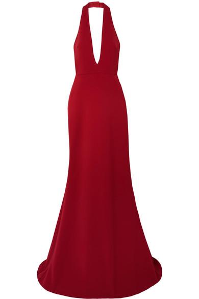 REEM ACRA Crepe Halterneck Gown in Red