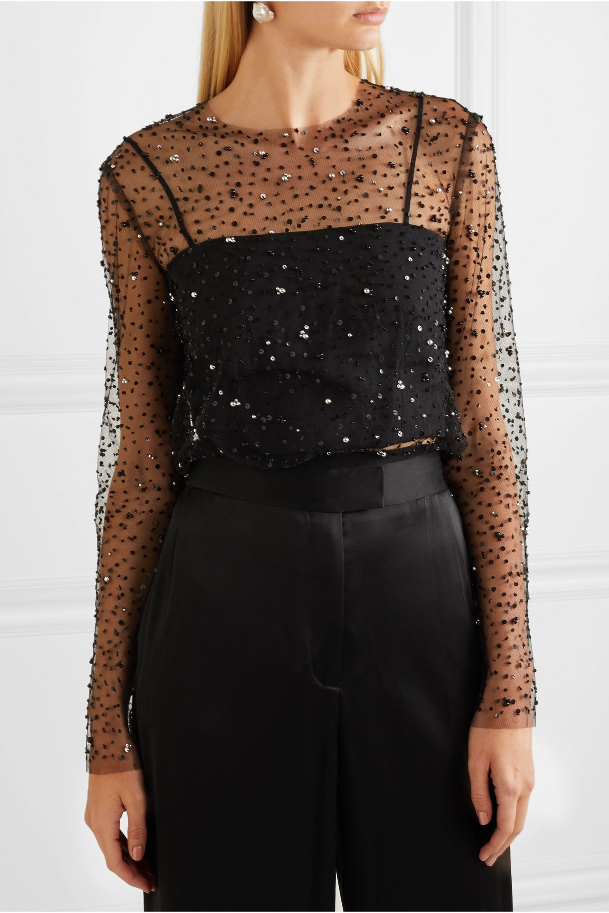 Reem Acra Embellished tulle and crepe top