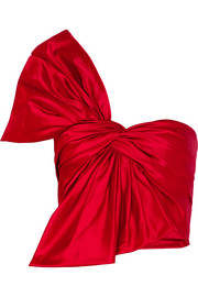 One-shoulder bow-embellished silk-satin bustier top