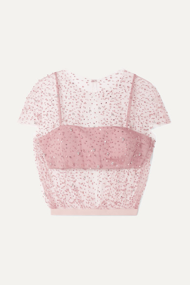 Embellished tulle and silk-faille top from NET-A-PORTER