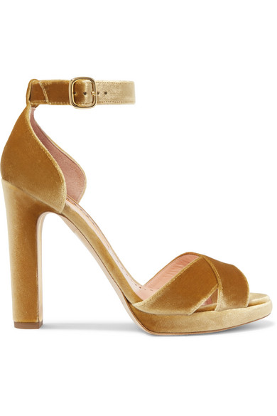Meadow Metallic Velvet Platform Sandals - Mustard Rupert Sanderson oh0q5