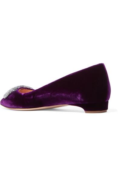 Rupert Sanderson | Bedfa flache Schuhe aus Samt Swarovski-Kristallen mit spitzer Kappe und Swarovski-Kristallen Samt 5fab92