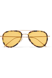Wooster aviator-style tortoiseshell acetate and gold-tone sunglasses