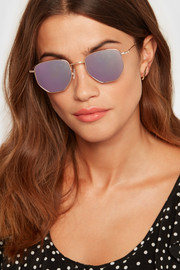 Hunter hexagon-frame gold-tone mirrored sunglasses