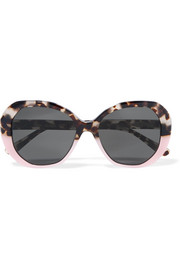 Manuela two-tone round-frame acetate sunglasses